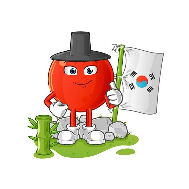 Carattere coreano ciliegia. mascotte dei cartoni animati Vettore Premium