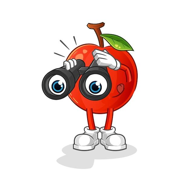 Ciliegia con il carattere del binocolo. mascotte dei cartoni animati Vettore Premium