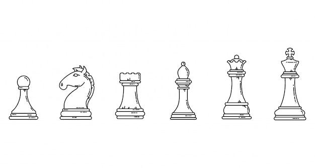 Pezzi degli scacchi sagome piatte contorno nero. insieme di immagine di riserva del lineart di concetto del gioco. Vettore Premium