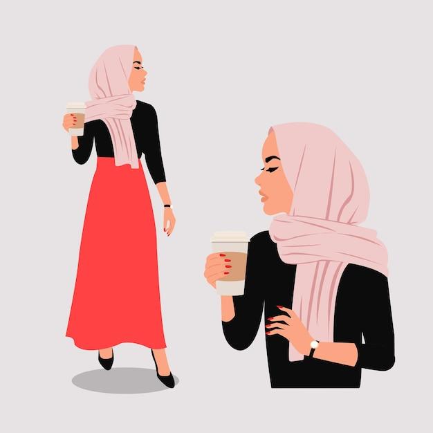Chic donna musulmana in hijab che tiene un caffè tazza di carta. piatto Vettore Premium