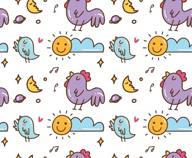 Pollo e uccello che canta sfondo senza soluzione di continuità Vettore Premium