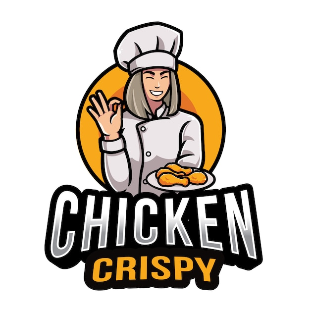 Modello di logo croccante di pollo Vettore Premium