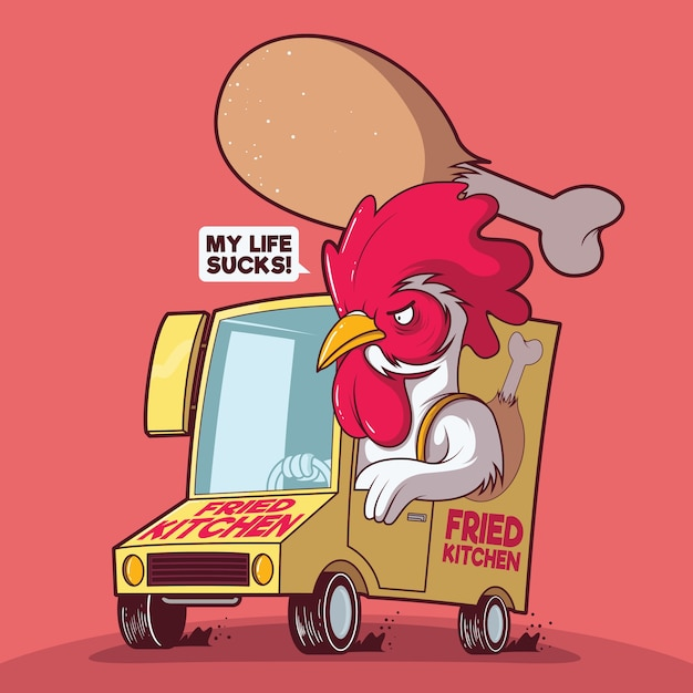Illustrazione di cibo consegna pollo Vettore Premium