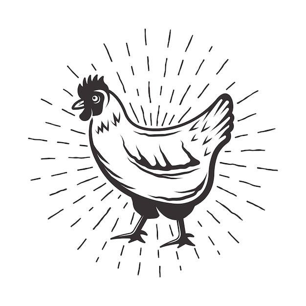 Pollo con illustrazione monocromatica di raggi di sole in stile retrò Vettore Premium