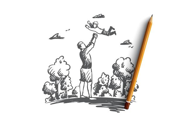 Bambino, padre, genitore, concetto di divertimento. papà disegnato a mano che gioca con lo schizzo di concetto all'aperto del figlio. Vettore Premium