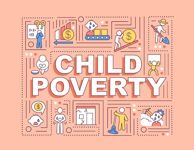 Bandiera di concetti di parola di povertà infantile Vettore Premium
