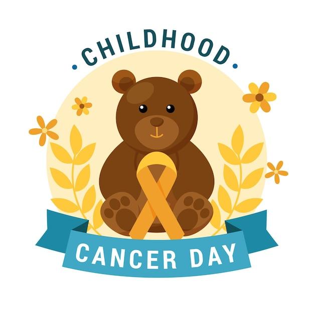 Giornata del cancro infantile con orsacchiotto e fiori Vettore Premium