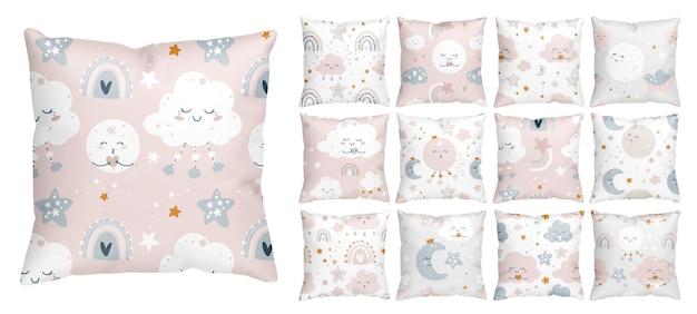 Disegno del modello infantile per la scuola materna della neonata con cielo stellato notturno e nuvole sorridenti Vettore Premium