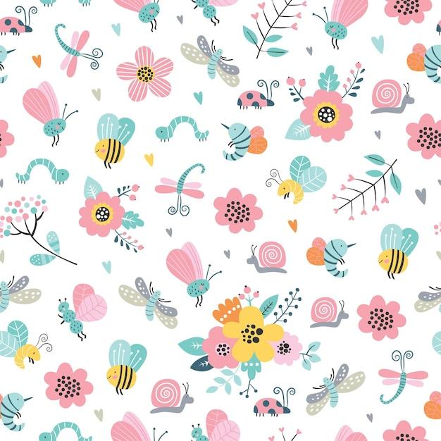 Modello senza cuciture infantile con fiori carini, ape, lumaca, falena, libellula in stile cartone animato. Vettore Premium