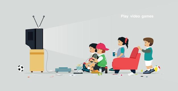 I bambini stanno giocando ai videogiochi con uno sfondo grigio Vettore Premium