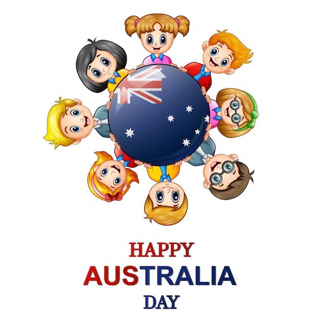 Bambini in tutto il mondo concept australia day Vettore Premium