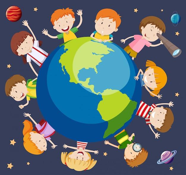 I bambini di tutto il mondo concetto Vettore Premium