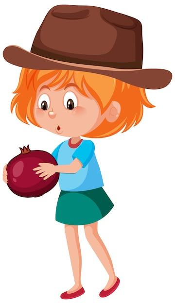 Personaggio dei cartoni animati dei bambini che tiene frutta o verdura isolata su fondo bianco Vettore Premium
