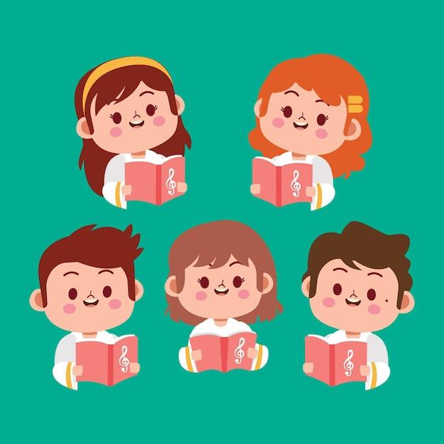 Illustrazione del coro dei bambini Vettore Premium