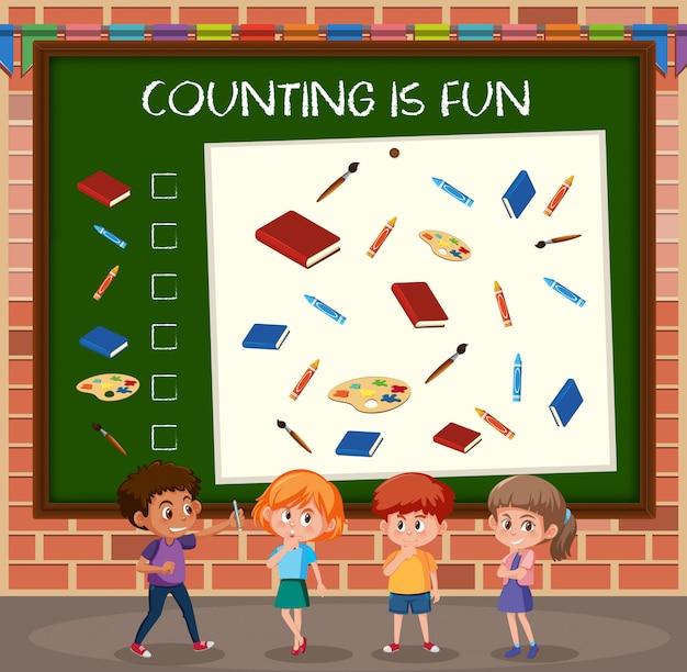 Bambini sul conteggio del modello di gioco Vettore Premium