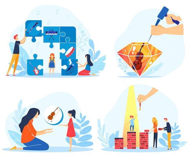Illustrazione di vettore di risultati creativi dei bambini. Vettore Premium