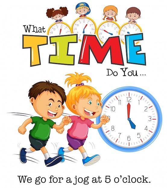 Bambini che fanno jogging alle 5 in punto Vettore Premium