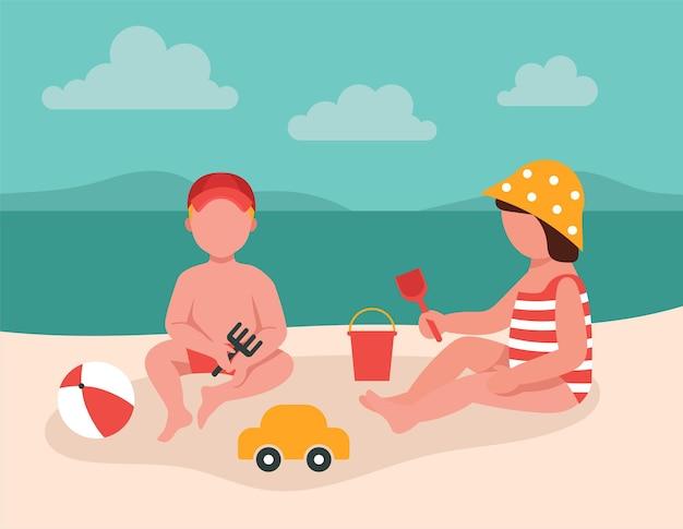 I bambini giocano con i giocattoli nella sabbia in riva al mare. concetto di vacanza con i bambini. simpatici personaggi dei cartoni animati Vettore Premium