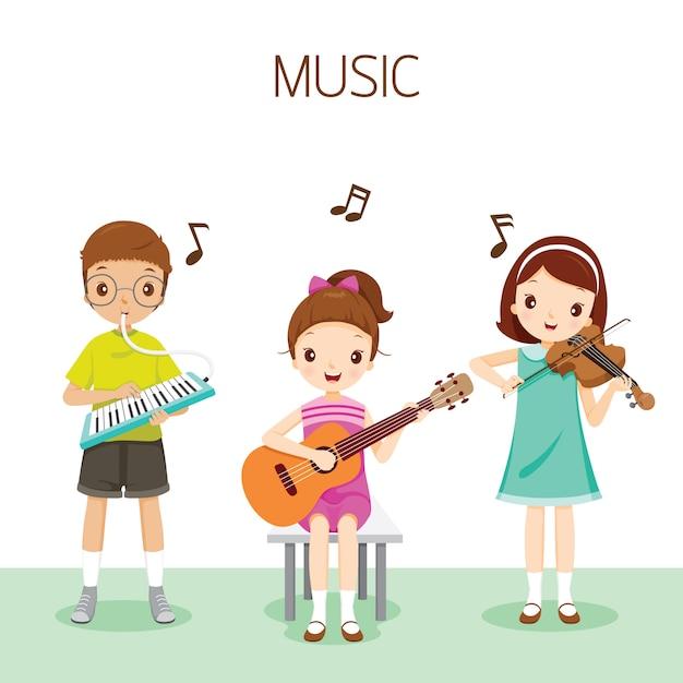 Bambini che suonano musica di harmonium, chitarra e violino, student back to school Vettore Premium