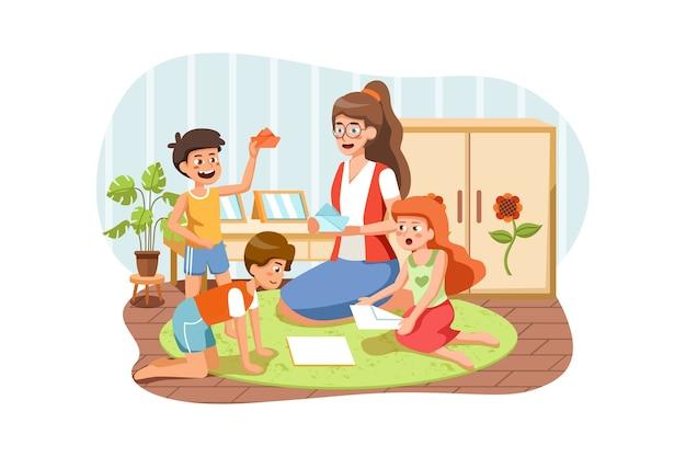 Sala giochi per bambini, bambini con insegnante all'asilo. Vettore Premium