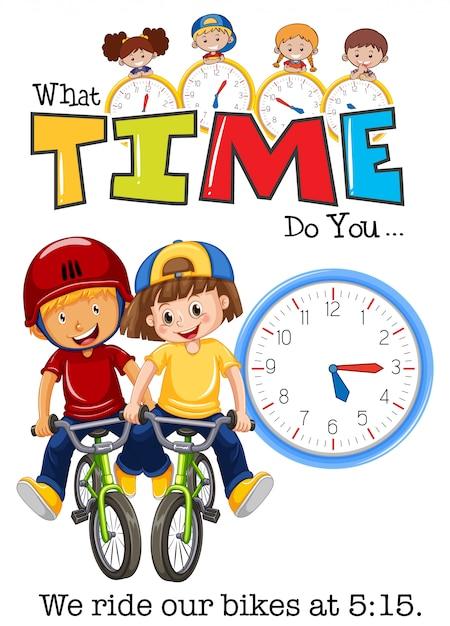 I bambini vanno in bicicletta alle 5:15 Vettore Premium