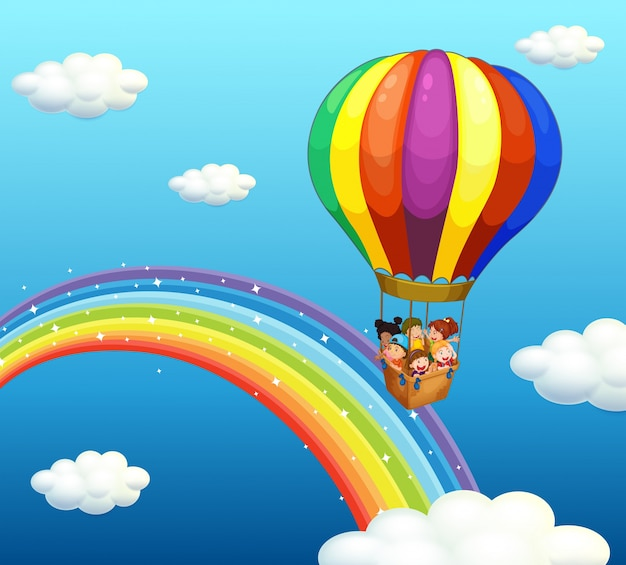""""""" Il logo della settimana """" 2nd sessione Children-riding-big-balloon-rainbow_1308-6477"""