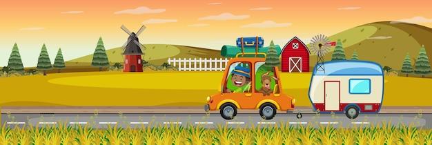 Bambini in viaggio nella scena dell'azienda agricola orizzontale al tramonto Vettore Premium