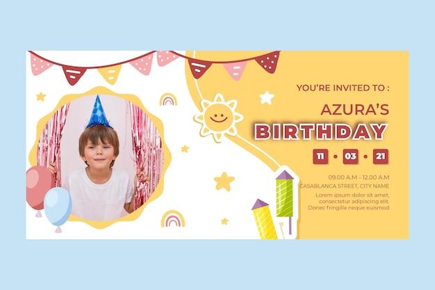 Banner di compleanno per bambini Vettore Premium