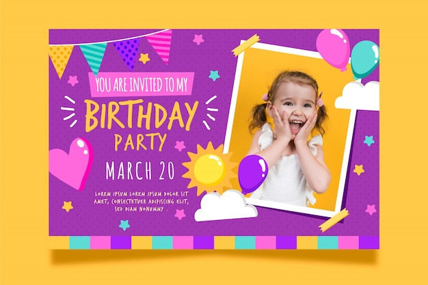 Biglietto d'auguri per bambini con foto Vettore Premium