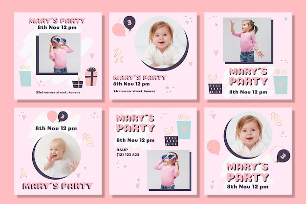 Post di instagram di compleanno per bambini Vettore Premium