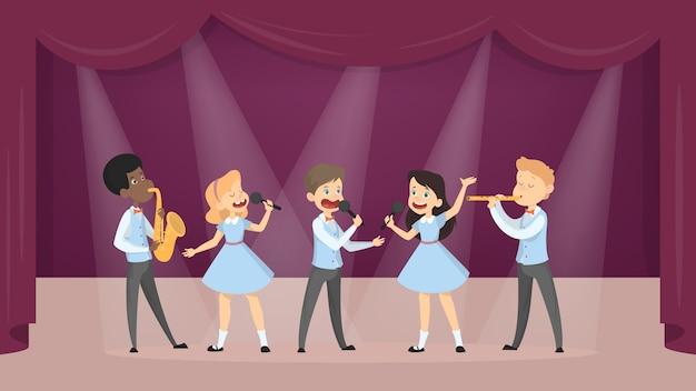 I bambini che cantano e che giocano gli strumenti hanno messo su bianco. Vettore Premium