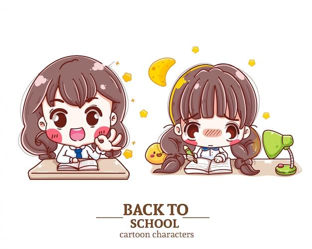 Uniforme studentesca per bambini c oon, compiti a casa, libro, torna a scuola illustrazione logo. Vettore Premium
