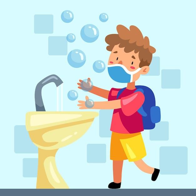 I bambini si lavano le mani a scuola Vettore Premium
