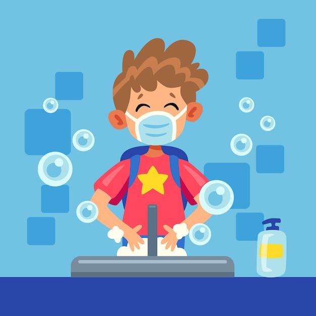 I bambini si lavano le mani nelle scuole Vettore Premium