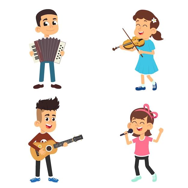 I bambini con strumenti musicali suonano e cantano. Vettore Premium