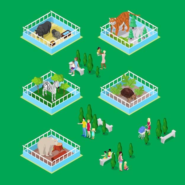 Bambini con genitori nel parco zoo all'aperto con animali Vettore Premium