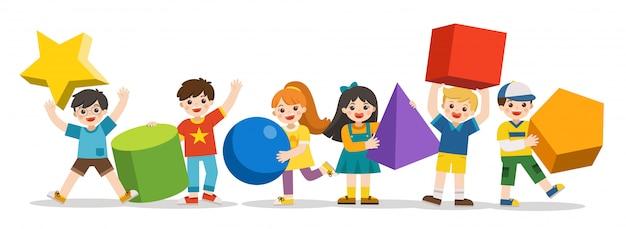 Bambini con forme geometriche semplici. forma geometrica diversa. bambini di geometria educativa. di nuovo a scuola. Vettore Premium