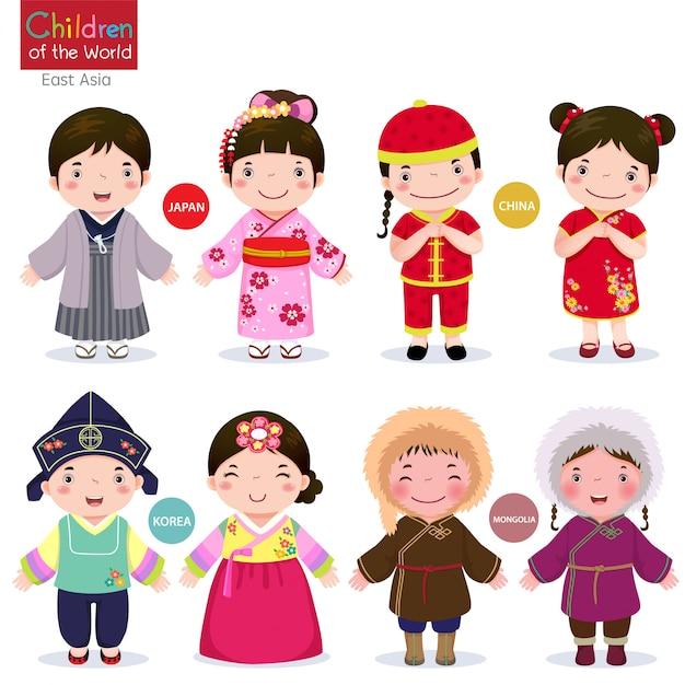 Bambini del mondo giappone, cina, corea e mongolia Vettore Premium