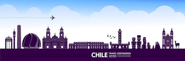 Illustrazione di vettore della destinazione di viaggio del cile. Vettore Premium