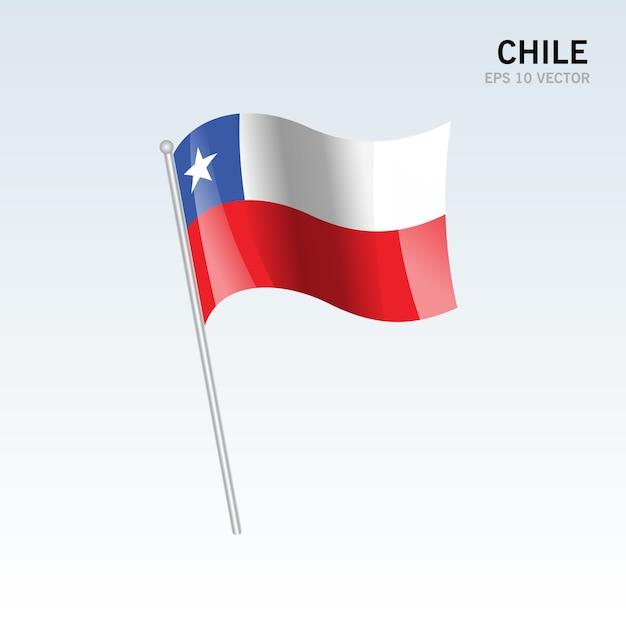 Bandiera sventolante cile isolato su sfondo grigio Vettore Premium