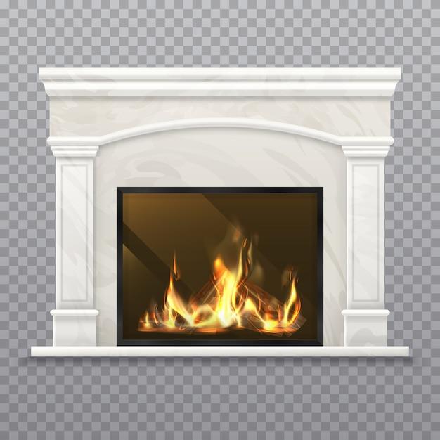 Camino o caminetto con legna ardente. focolare realistico, stufa 3d con parete in marmo, caminetto classico con legna da ardere, interno di casa con camino, fornace con ceppo. Vettore Premium
