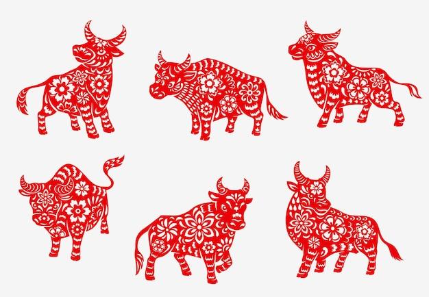 Icone animali del toro o del bue dello zodiaco del nuovo anno cinese 2021 Vettore Premium