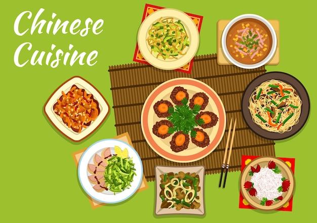 Cucina cinese pranza con noodles croccanti e insalata di anatra alla pechinese, pollo kung pao Vettore Premium
