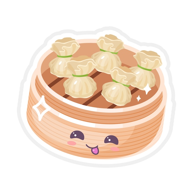 Set di caratteri kawaii cinesi dim sum cinesi. piatto asiatico con la faccia sorridente. cucina tradizionale orientale. tipo di gnocchi. emoji divertenti, emoticon. illustrazione di colore isolata del fumetto Vettore Premium