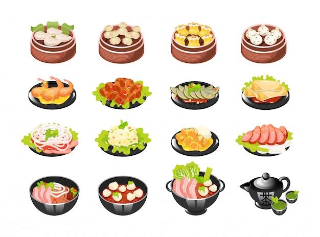 Set di icone di piatti cinesi. Vettore Premium