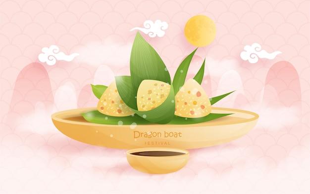 Festival cinese della barca del drago con gli gnocchi del riso, illustrazione. Vettore Premium