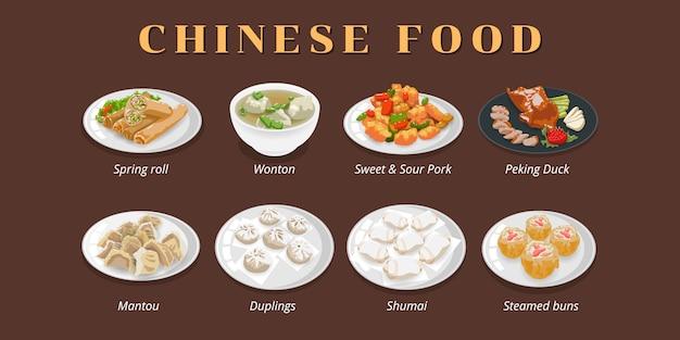 Set di menu di cibo cinese Vettore Premium