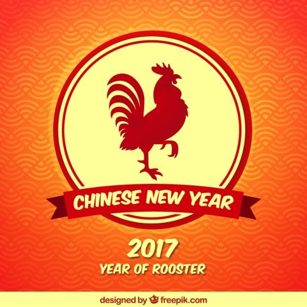 Cinese nuovo anno con sfondo gallo rosso Vettore Premium