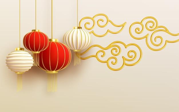 Modello di disegno di capodanno cinese con e lanterne rosse e nuvola sullo sfondo chiaro. Vettore Premium