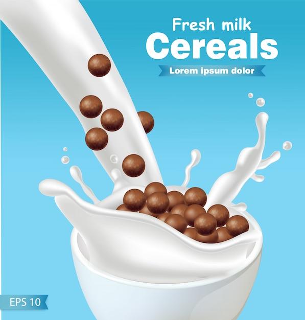 Cereali al cioccolato in spruzzata di latte realistico Vettore Premium